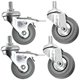 Spares2go Universal Heavy Duty Rubber Swivel Bolt Castor Wheels with Brakes (50mm, Pack of 4)