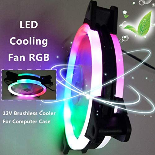 Hapshop 120mm LED Cooling Fan 12V 4Pin to 3Pin RGB Ultra Quiet Computer PC CPU Cooler