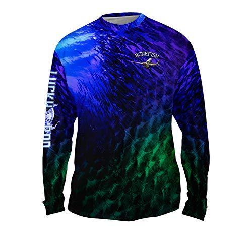 Yizzam LuckyRod Bonefish Mens Long Sleeve UPF 50+ Performance Fishing Shirt (Medium, Bone Marlin DarkNight)