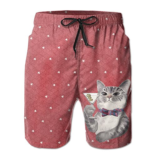 - Men's Shorts Summer Athletic Swim Trunk Quick Dry Classic Cat Kitten Illustration Printed Beach Shorts With Pockets