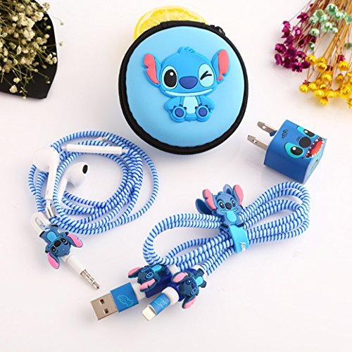Spiral Stitch - USB Cable Earphone Protector Set With Cable Winder Stickers Spiral Cord Protector (Stitch)