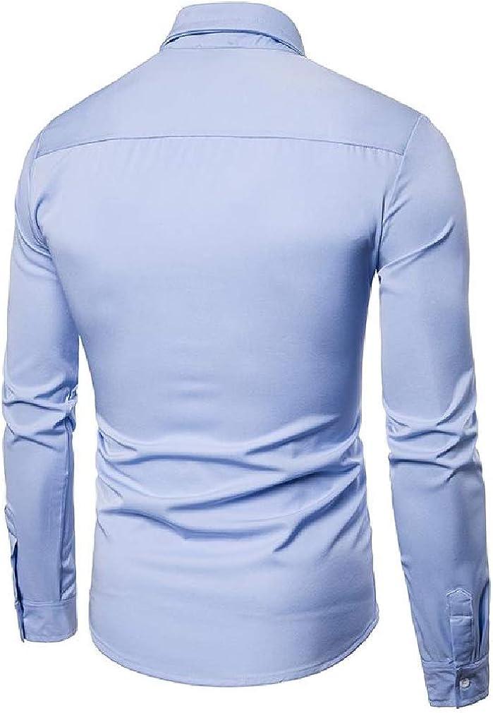 Wofupowga Mens Autumn Lapel Neck Hollow Curved Hem Button Down Shirts