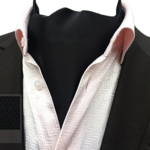 Neck Elegant Ascot Tie Jacquard Plaid Cravat Mens Ljb Reversible Paisley Floral Black 21 Scarf YCHENG g5qvw