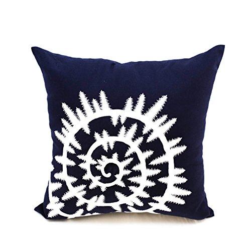 KainKain Ocean ThemeDecorative Pillow Cover, Sea Shell Nautical Pillowcase, Navy Blue White Cushion Cover Embroider, Coastal Beach House Decor (18 inch x 18 inch)