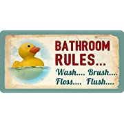605HS Rubber Duck Ducky Bathroom Rules Wash Brush Floss Flush 5 x10  Aluminum Hanging Novelty Sign