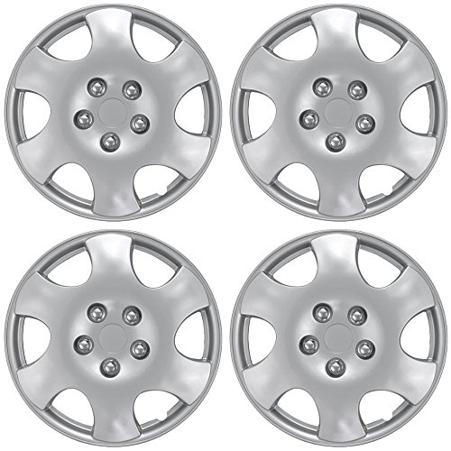 OxGord Hub-Caps for Select Toyota Corolla (Pack of 4) 15 Inch Silver Wheel Covers by OxGord (Image #1)