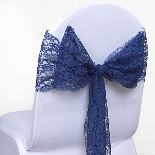 BalsaCircle 10 New LACE Chair Sashes Bows Ties - Navy (Baby Shower Chairs For Sale)