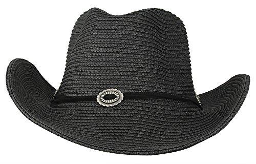 Cowboy Black Style Hat (MINAKOLIFE Men's & Women's Western Style Cowboy/Cowgirl Straw Hat (Black))