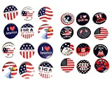 Patriotic American Pin On Buttons - Set of 24