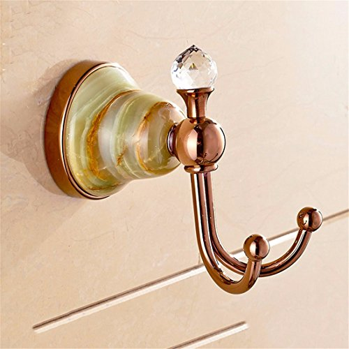 Cheap LAONA Copper rose gold jade base bathroom accessory set bath towel rack towel bar, Coat Hook free shipping