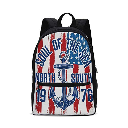 Anchor Fashion Canvas printed Backpack,Vintage Design Anchor with Rope on Grungy American Flag Soul of the Sea Art Decorative for school,One_Size (Rope Soul)