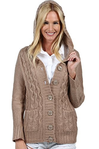 Ingear Cardigan Sweater Hoodie Cable Chunky Knit Elegant Pullover Sweatshirt (Large, Brown)