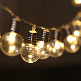 LED Cadena de Bombillas Transparente Decorativas, [5M, 40 LEDs] Luces de Cuerda Colgante a Pilas Vintage Iluminación Exterior/Interior para Decoración de Patio, Pérgola, Mirador, Porche (Luz cálida): Amazon.es: Iluminación