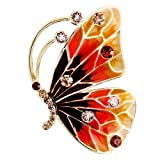 Image of EVER FAITH Austrian Crystal Enamel Cute Butterfly Insect Brooch Pin Brown Gold-Tone