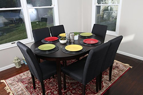Black Linen 7pc Oval Solid Top Dining Table Contemporary Cappuccino Finish Solid Wood Dining Table Chairs Set Oval