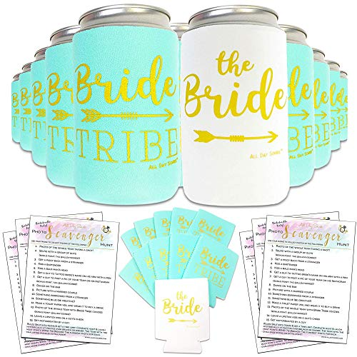 (Bachelorette Party Decorations Bridal Shower Favors Can Cooler Sleeves 11pcs | Bride Tribe Gifts, Wedding Accessories, Bridesmaid, Supplies, |10 Mint Green & 1)