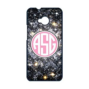 Personalized Galaxy Nebula Infinity Black (NOT GLITTERY) Vs Pink Initials Unique Custom HTC ONE M7 Best Durable PVC Cover Case