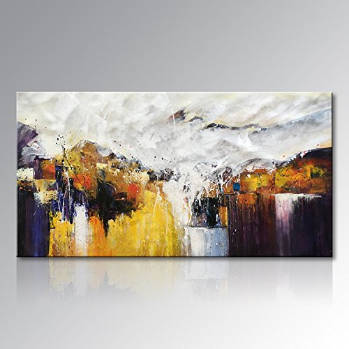 Seekland Art Hand Painted Large Yellow Abstract Oil Painting on Canvas Modern Wall Art Decor Hanging Contemporary Artwork for Living Room Bedroom Office Unframed (80''W x 40''H) by Seekland Art