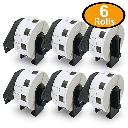 BETCKEY - 6 Rolls Compatible Brother DK-1221 Square Labels 10/11 X 10/11(23mm x 23mm) [6000 Labels + 6 Refillable Cartridge Frame]
