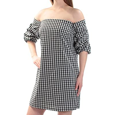 1.STATE Womens Gingham Cascade Off-Shoulder Dress, Black, X-Small at Amazon Women's Clothing store