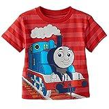 "Thomas the Train Toddler Little Boys ""Thomas the Tank Engine"" Red Striped T-Shirt"