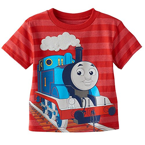 "Price comparison product image Thomas the Train Toddler Little Boys ""Thomas the Tank Engine"" Red Striped T-Shirt (4T)"