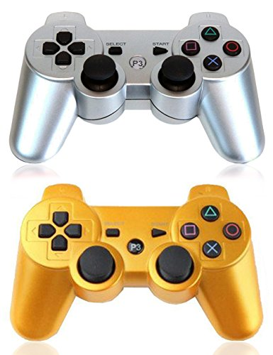 XFUNY® Pair of 2 Wireless Bluetooth Game Controllers for Sony PlayStation 3 (Playstation 3 Dual Shock 3 Wireless Controller)