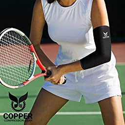 Copper Compression Gear PREMIUM Fit Recovery Elbow Sleeve - 100% GUARANTEED - #1 Elbow Compression Sleeve / Support Brace / Wrap For Workouts, Tennis Elbow, Golfers Elbow, And More! (Large)