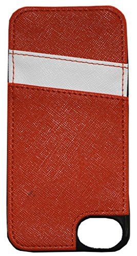 Secure Style RFID Protected Cell Phone Case w/Credit Card Sleeve for iPhones 6+/7+/8+ - Burnt Orange/White