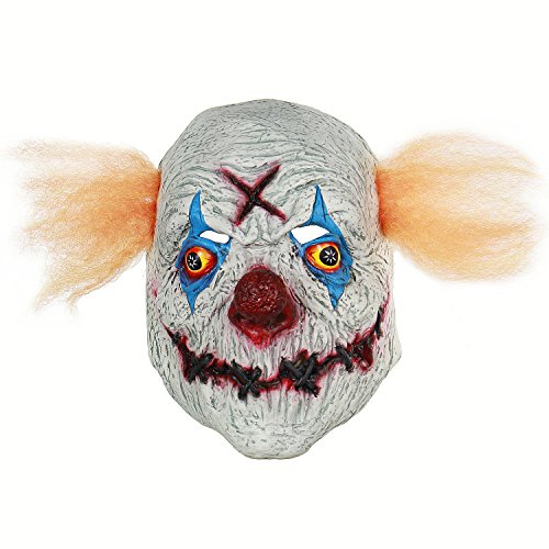Halloween Party Scary Creepy Cosplay Stitched Mouth X Clown Mask Costume Decorations Huanted House Props Latex Mask]()