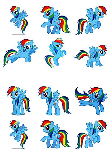 12 My Little Pony Rainbow Dash Edible Cup Cake Toppers Birthday Decorations ✿