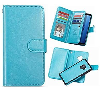 Galaxy S9 Plus Wallet Case,Hysjy S9 Plus Pu Leather Detachable Magnetic 9 Card Slots Holder For Women With Shockpfoof Flip Slim Cover Shell Cash Pocket Fit Samsung Galaxy S9 Plus 6.2inch (9 Card Blue) by Hysjy