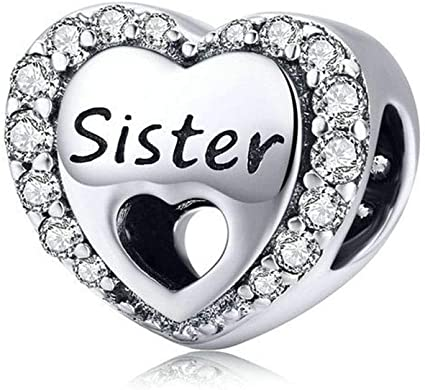 925 Sterling Silver Sweet Sister Charm Family Charm Anniversary Charm  Birthday Charm for Pandora Charms Bracelelt