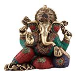AapnoCraft 9.5'' Ganpati Statue - Brass Handmade Ganesha idols/Sculpture Blessing Elephant God & Resting At Pillow Figurine Anniversary Gifts