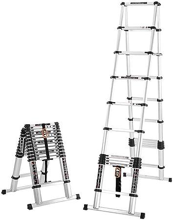 Escalera de extensión telescópica con marco en A Escaleras de mano portátiles de aluminio multiusos Escalera telescópica plegable con barra de soporte Escalera de extensión tipo loft 150kg / 330lbs: Amazon.es: Hogar