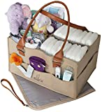 Baby Crib with Built in Changing Table Bonne Vie Baby Diaper Caddy Organizer & Changing Pad – Portable Tote Bag for Car & Travel – Nursery Table Storage Bin – Cute Boy Girl Baby Shower Gift Basket - Newborn Registry Must Haves