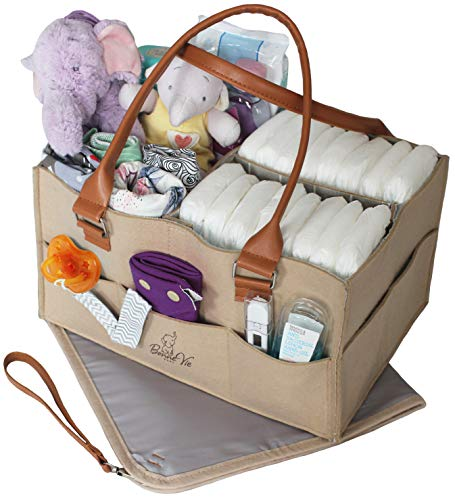 Bonne Vie Baby Diaper Caddy Organizer & Changing Pad – Portable Tote Bag for Car & Travel – Nursery Table Storage Bin – Cute Boy Girl Baby Shower Gift Basket - Newborn Registry Must Haves