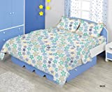 Bombay Dyeing Glow 144 TC Cotton Double Bedsheet with 2 Pillow Covers - Blue