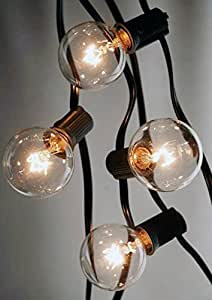 Richland Outdoor Patio String Light Set G40 Clear Globe Bulbs 28 Feet Black Cord E12 C7 Base Set of 6