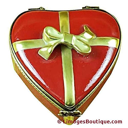 RED HEART W/CHOCOLATES - LIMOGES BOX AUTHENTIC PORCELAIN FIGURINE FROM FRANCE ()
