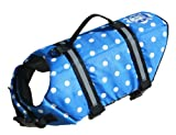 Cheap Paws Aboard Large Designer Doggy Life Jacket, Blue Polka Dot