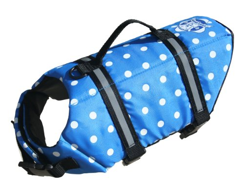 Polka Dot Life Jacket - Paws Aboard Large Designer Doggy Life Jacket, Blue Polka Dot