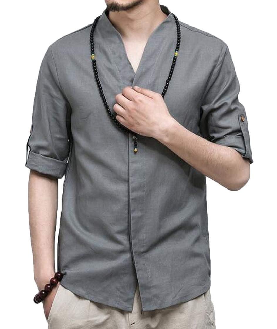 YYear Mens Chinese Summer Stand Collar Linen Retro Shirt Blouse Top