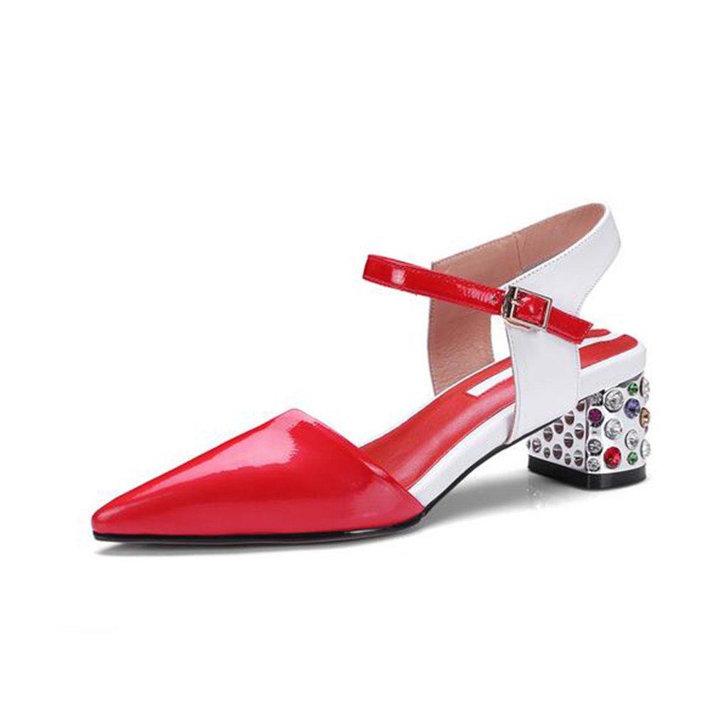 CAI Damen Heel Sandaletten Damen Grohe Ferse Strass Spitze Kopf High Heel Baotou Sandalen Sommer Party Wedding Dress Sandale Damen Strass Heel Sandaletten (Farbe   Rot Größe   34)