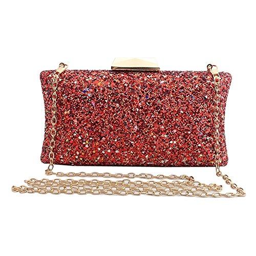 ZAKIA Women' Glitter Sequins Evening Clutch Handbag Bridal Purse Bag for Wedding Party Prom (Red)