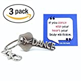 3-PACK key2Bme DANCE key - dancer keychain & inspirational quote - the cute cool fun unique small team gift under 10 for giving kids teens friends girls coach ballet tap jazz hip hop broadway theater