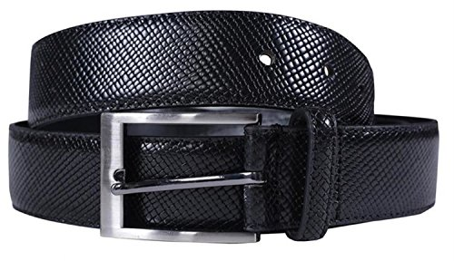Click Selfie New Mens 35mm Wide Bonded Genuine Leather Snake Skin Textured Buckle Belts Black S