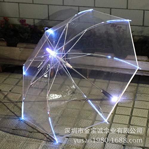 TYHJF LED 透明 明るい色 カスタムメイド クリエイティブ PVC ストレートポールライト 子供用傘 B07MR1RLQD レッド