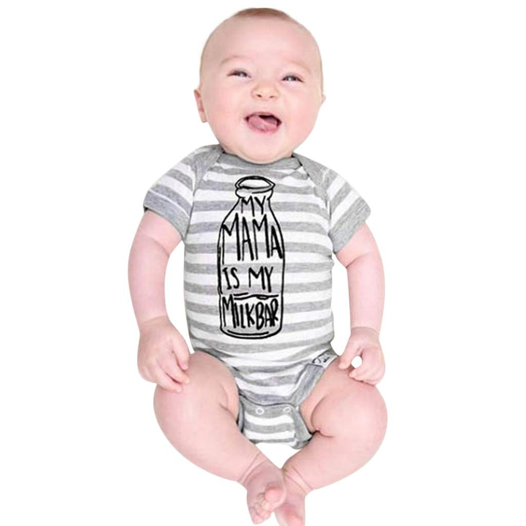 BOOMJIU Cute Toddler Baby Girls Boys Striped Letter Print Romper Jumpsuit Casaul Clothes