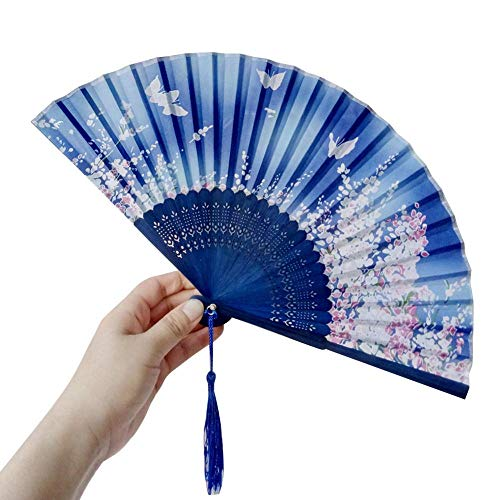 (Yhauto Floral Hand Held Folding Hand Fans Retro Pattern Chinese/Japanese Vintage with Tassels and a Case for Wedding Dancing Party (Butterfly)